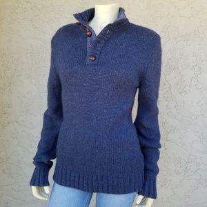 Fossil Blue Angora Blend Half Button Sweater
